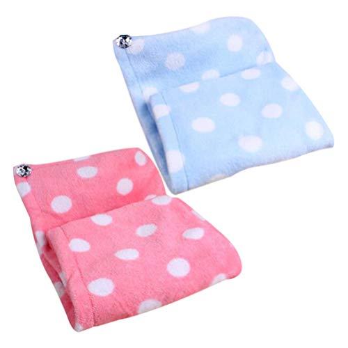 Lurrose Trockenes Haar Hut Kopfhandtuch Microfiber Haar Turban Handtuch Polka Dot Muster Damen Badetuch 2 Stück (Rosa und Blau) -