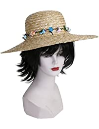 Strohhut natur Sommer Mütze Hut Strand Sonne Party für Damen m. Blütenverzierung