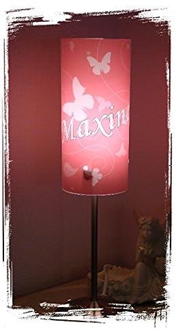 Lampe Tischlampe Schlummerlampe Nachtlicht mit Schalter personalisiert mit Namen Schmetterling