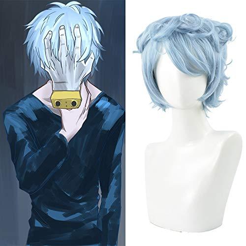 Mein Held College Dead Griff aus Holz hängende Cos Perücke hellblaues lockiges Haar kurze Haare diffuses Kunsthaar