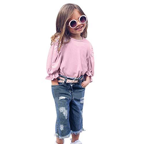 SCEMARK Mädchen Kleidung Sets, Mode Kleinkind Kinder Baby Mädchen Einfarbig Lange Ärmel Laternenärmel T-Shirt + Loch Lose Jeans Hosen Set -