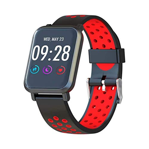 Lg-jz Smart Watch Smart Bracelet Silicone Color Screen Heart Rate Monitoring Call Reminder Information Push Smart Belt Smart Bracelet (color : Two-color Red)