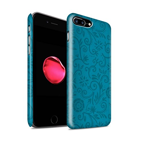 STUFF4 Matte Snap-On Hülle / Case für Apple iPhone 8 Plus / Red Flower Muster / Floral Strudel-Muster Kollektion Blaue Blume