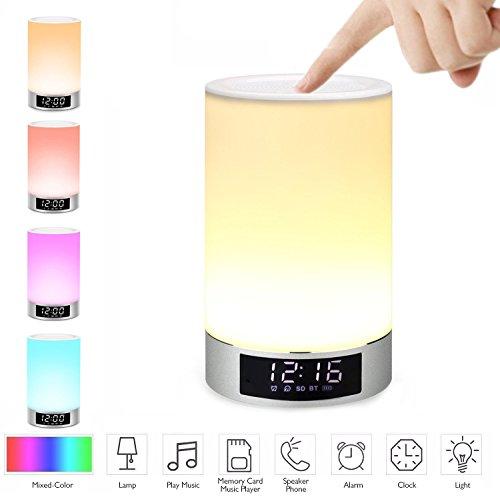 Licht Pc-lautsprecher (Blingco Portable Wireless Bluetooth Lautsprecher, Nachtlicht Wecker Wake Up Licht Dimmable und Farbe ändern Nacht Lampe mit Touch Control (L5 Weiß))