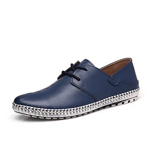 Mode Hommes Loisirs Chaussures En Cuir Respirant Léger Ballerines Grande Taille Euro Trainers Taille 38-45 Bleu