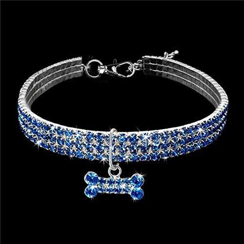 PENVEAT Exquisite Bling Crystal Dog Collar Diamond Puppy Pet Shiny Full Rhinestone Necklace Collar Collars for Pet Little Dogs Supplies,Blue,20cm -