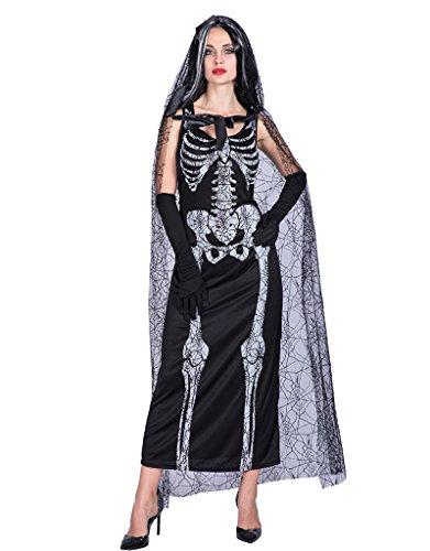 EraSpooky Damen Spinnennetz Skeleton Lady Halloween (Für Spinnennetz Erwachsene Kostüm)