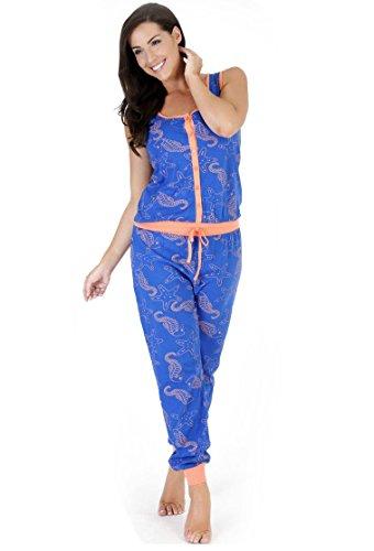 Combinaison Femme Pyjama combinaison 1 pièce Taille 10 12 14 16 18 mer Bleu - Bleu