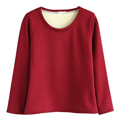 Tops T-shirt à Manches Longues Col Rond Pull Haut Femme Epaissir Toison Vin rouge