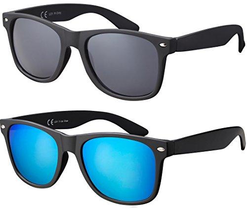 V400 CAT 3 CE Unisex Sonnenbrille - Farben, Einzel-/Doppelpacks, Verspiegelt (Doppelpack Rubber Schwarz (Gläser: 1 x Grau, 1 x Hellblau verspiegelt)) (Hellblau Und Schwarz)