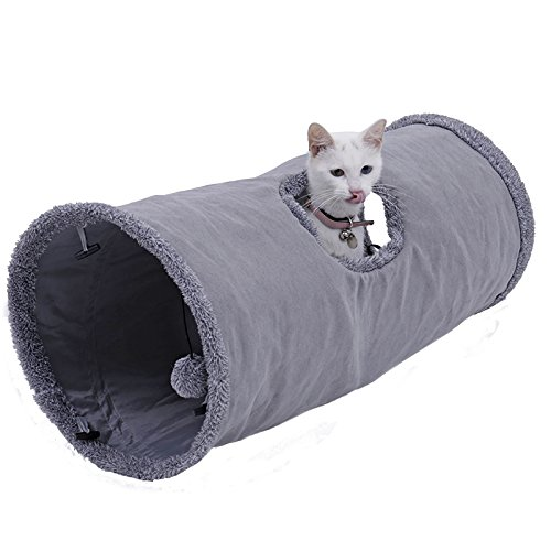 OHANA Schön Faltbar Katzentunnel Katzenspielzeug mit Ball Rascheltunnel für Katzen Welphln Kaninchenoder Kleintiere Grau 67 * 30cm
