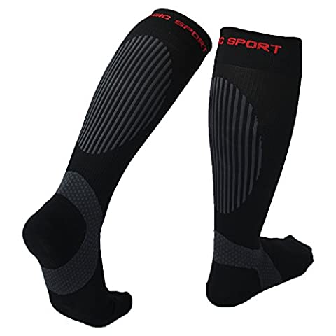 Premium Compression Socks, Reinforced Ankle, Calf and Arch Support, Pressure dispersing heal, Enhanced stability of ankles, Ideal for Running, Cycling, Hiking, Flight Travel and Much