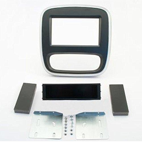 Einbauset : Doppel-DIN 2-DIN Radioblende mit Ablagefach für Renault Trafic ab Baujahr 2014 / Opel Vivaro ab Baujahr 2014 / Fiat Talento ab Baujahr 2016 Farbe : schwarz / silber