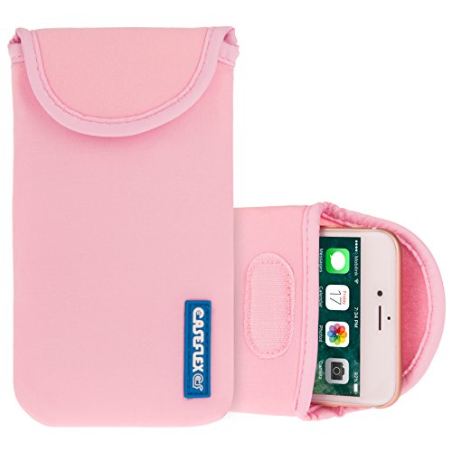 Caseflex Apple iPhone 4 / 4S Tasche, Neoprene Beutel Hülle / Apple iPhone 4 / 4S Pouch / Skin / Cover - Schwarz Hellrosa
