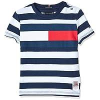 Tommy Hilfiger Boy's Cut & Sew Stripe Short Sleeve T-Shirt, Blue, 8 Years