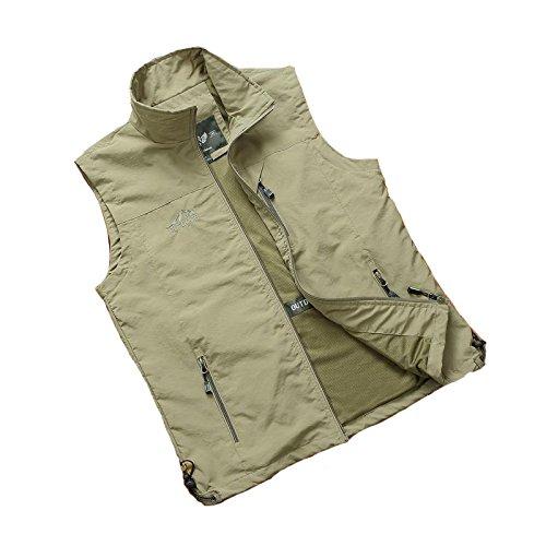 HYSENM Herren Weste Atmungsaktiv Reißverschluss Stehkragen Tasche Leichtgewicht Praktisch Sport Fotografie Angeln Vest Outdoor-Klettern Gilet, khaki, XL
