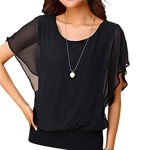 Chiffon T-Shirt für Damen/Dorical Sommer Casual Loose Fit Kurzarm Rundhals Fledermaus Batwing Shirt Elegant Top Bluse Casual Party Bluse Pullover Tees 8 Farben S-5XL (Permanente Kontaktlinsen)