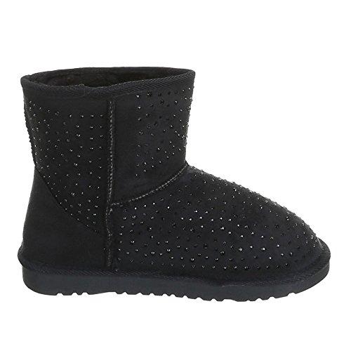Enfants chaussures fille, 1088, bOOTS bottes avec doublure chaude Schwarz BBA-1-1