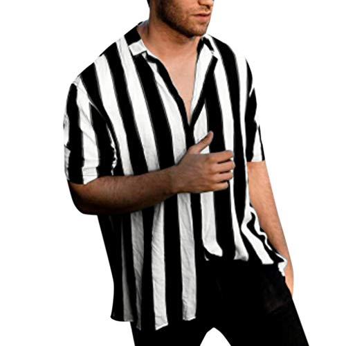 REALIKE --Herren Tops Kurzarm Klassische Schwarz und weiß Streifen Knopfleiste & Hemdkragen T-Shirts Lässig Basic für Männer bis Größe M-3XL Oberteile Sommer Sport Fitness Gym Blouse