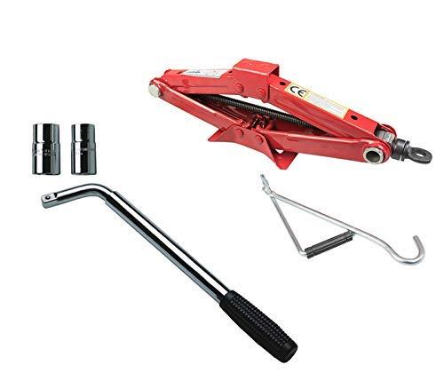 Asc Emergencia Rueda Cambio Kit - 1.5T Gato de Tijera + Extensible Llave de Cruceta (4 Tamaños - 17mm 19mm 21mm 22mm)