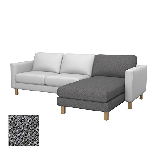 Soferia - Bezug fur Ikea KARLSTAD Anbau Recamiere, Nordic Grey