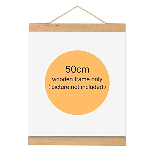 Magnetic Wooden Photo Frame Natural Wood Frame Picture Poster Artwork Canvas Hanger For Home Decoration Wall White Wood ( Size : 50cm )