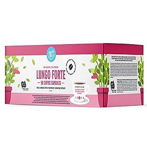 Marchio Amazon - Happy Belly  Lungo Forte Caffè UTZ tostato e macinato in capsule, compostabili, compatibili Nespresso,  5 x 10 capsule (50 capsule)