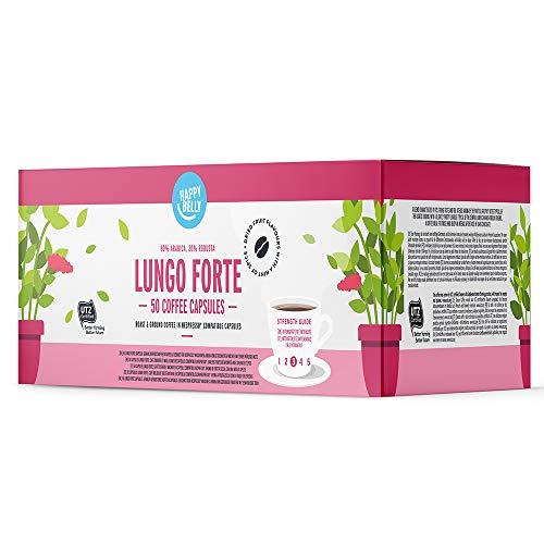 Amazon-Marke: Happy Belly Lungo Forte Gemahlener UTZ Röstkaffee in Kapseln (kompostierbar), geeignet für Nespresso-Maschinen, 50 Kapseln (5x10)