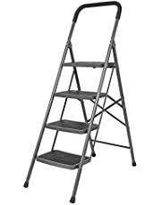 Bathla Boost 4-Step Foldable Steel Ladder with Anti-Slip Steps (Black)