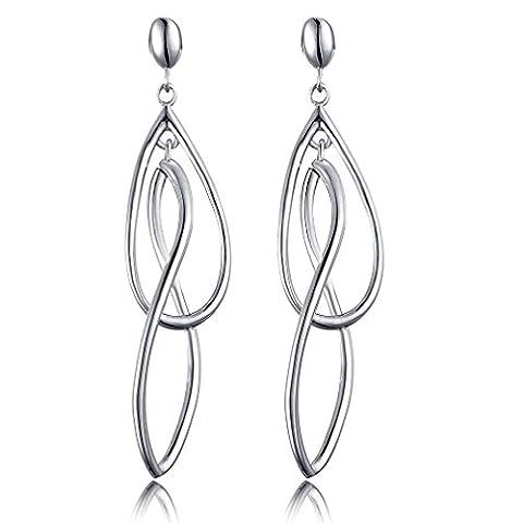 Double Elongated-Oval Twist Wave Long Tassels Dangle Drop Stud Earrings 925 Silver DE0075W