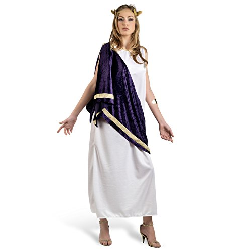 Göttin Kostüm Damen langes Karnevals Kleid ärmellos weiß, lila Scherpe zum Knoten, goldene Brosche - (Griechisch Verkleiden Kostüme)
