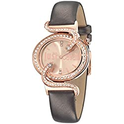 Just Cavalli Sin Women's Quartz Watch with Rose Gold Dial Analogue Display and Purple Leather Strap R7251591501