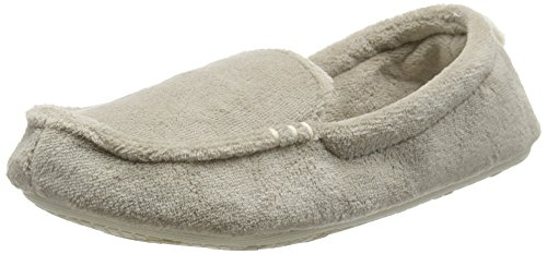 Dearfoams - Microfiber Terry Moccasin With Memory Foam, Pantofole Donna Silver (Pewter 00028)