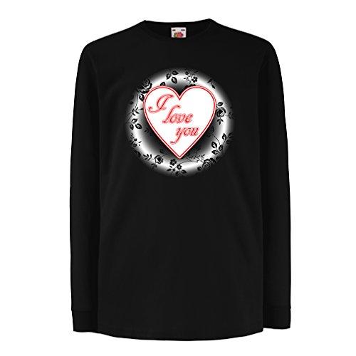 Kinder-T-Shirt mit langen Ärmeln Ich liebe dich - gehalten Valentine (3-4 years Schwarz (Hobo Kostüme Für Jungen)