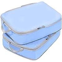 2 piezas de viaje bolsa de almacenamiento de ropa bolsa de equipaje conjunto elegante paquete-azul