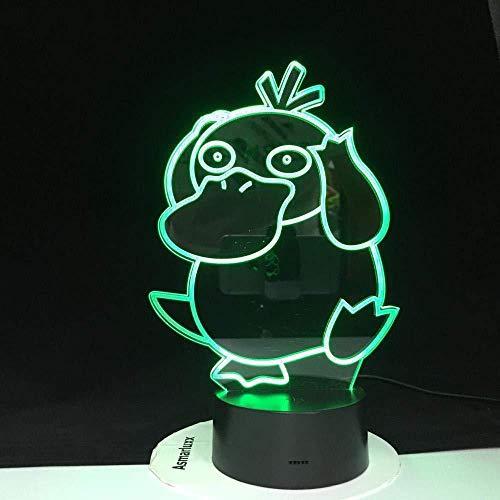 3D Slideshowpsyduck 3D Action Led Illusion Bild Nachtlicht Pokemon 7 Farbwechsel Modell Lampe Spielzeug Kinder Geschenk