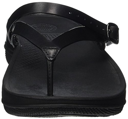 FitFlop Flip Leather, Sandales Bout Ouvert Femme, Silver Black (All Black)