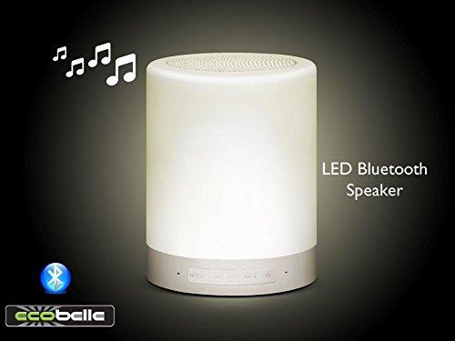 ECOBELLE® Lámpara LED con Tacto Inteligente (3 Modos de Iluminación) + Bluetooth Speaker/Altavoz Bluetooth (y a través del cable AUX), portátil y recargable con USB (sin necesidad de batería). Se puede utilizar como altavoz del teléfono también. Tarjeta TF reproductor de Música. Bluetooth eficaz distancia de transmisión: 10m. Buen uso como Luz de Noche , Luz de Camping y Luz de Lectura