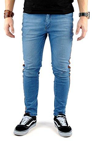 FiveSix Herren Slim-Fit Used-Look Bikerjeans Denim Skinny Jeans Hose mit Stretch Hellblau