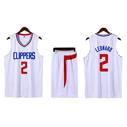 JIANGU Kawhi Leonard # 2 Basketballtrikot für Los Angeles Clippers, 90S Clothing, Professionelle Basketballuniform, es ist EIN echtes Trikot-White-S -