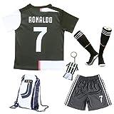 2019/2020 Juventus #7 Cristiano Ronaldo Heim Kinder Fußball Trikot Hose und Socken Kindergrößen (Heim, 30 (12-13 Jahre))