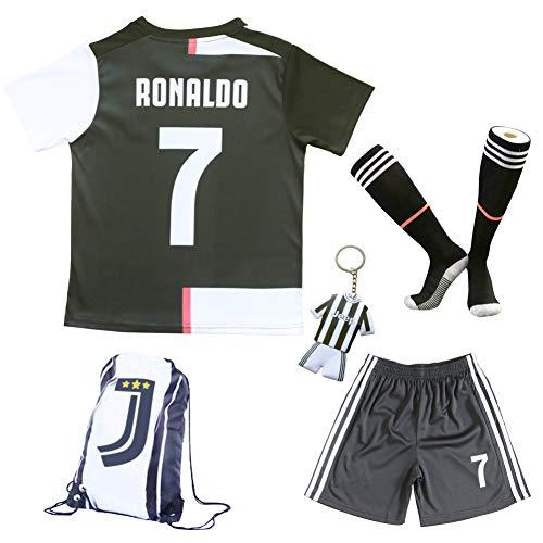 2019/2020 Juventus #7 Cristiano Ronaldo Heim Kinder Fußball Trikot Hose und Socken Kindergrößen (Heim, 24 (7-8 Jahre)) -