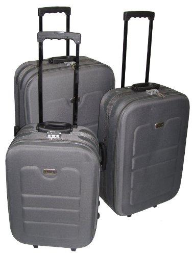 Trolley 3tlg Set grau EVA Kunststoff Koffer Kofferset Reisekoffer
