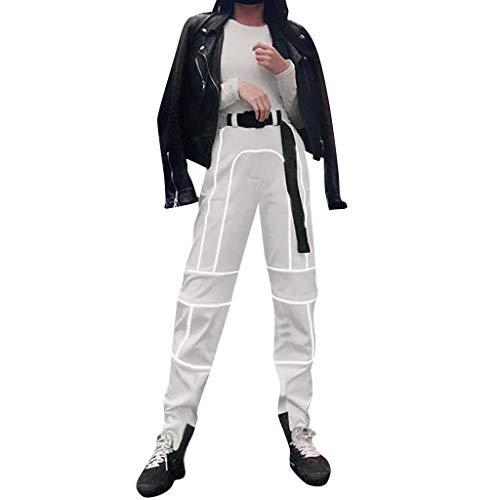 OYSOHE Damen Mode Reflektierend Hose Baggy Elastische Taille Cargo Hosen Pants für Club,Party(Grau,Medium)