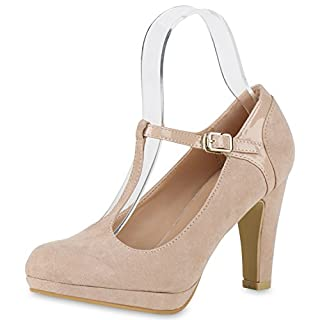 Damen Plateau Pumps High Heels Stilettos Mary Janes T-Strap Schuhe Creme Velours Lack 37