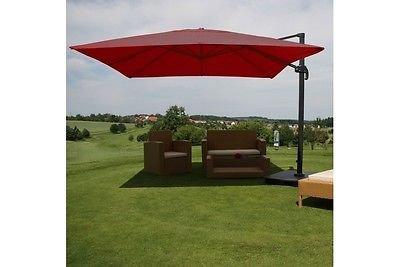 Sonnenschirm mit Ständer 4,3 m bordeaux Ampel Markt Gastro Terasse Lounge Alu