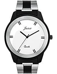 Jainx Two Tone White Dial Steel Chain Analog Watch For Men & Boys - JM252