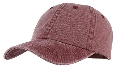 GEMVIE Baby Baseballcap Hip-Hop Cap einstellbar Bauwolle Baseball Kappe Denim Snapback Hut Jujube rot