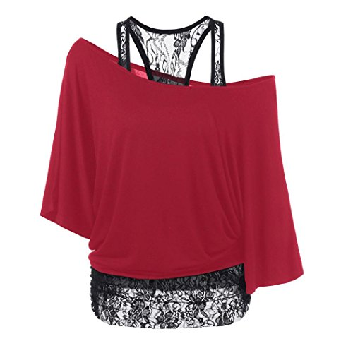 AMUSTER Moda Donna Plus Size Camicetta Camicia Pizzo Sciolto Casual Top Manica Lunga Rosso