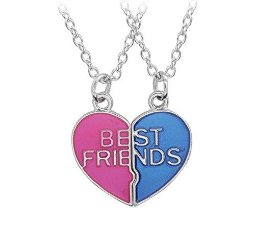 Fengteng Best Friends Two Friends Girlfriends Love Friendship Mosaic Splice Broken Heart Necklace